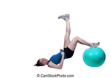 Woman Exercising - A beautiful young woman working with an...