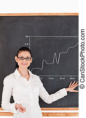 Dark-haired teacher explaining a graph to students in a...