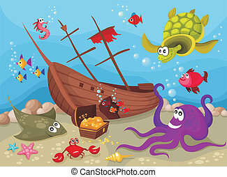 sea life - vector illustration of a sea life