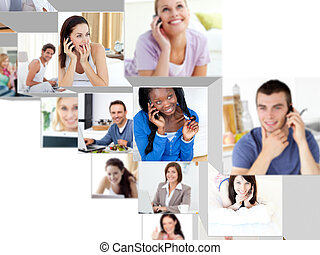 Montage of people having a phone conversation at home and at...