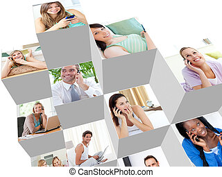 Collage of people talking on the phone at home and at the...