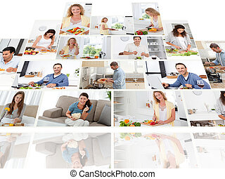 Montage of people smiling while cooking at home