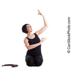 happy woman sit in yoga pose with beads