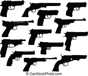 Guns silhouettes collection - vector