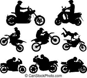 Motorcyclists silhouettes - vector illustration