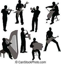 Musicians silhouettes - vector illustration