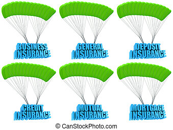 Types of business insurance 3d concept illustration set...