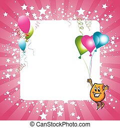 Celebration card - Shiny pink celebration card with rays,...