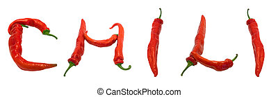 CHILI text composed of chili peppers. Isolated on white...