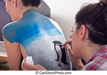 body-painting on girls back 1 - makeup artist body-painting...
