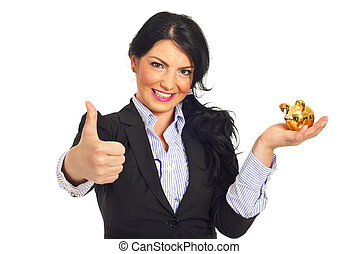 Successful business woman with piggy bank - Successful...