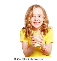 child drinking milk