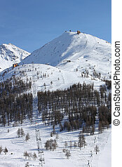 Two main trails in the Sestriere resort (Italy)