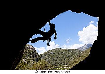 岩石, 登山運動員, 黑色半面畫像