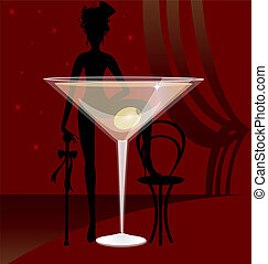 a glass of vermouth - on dark red background is a large...