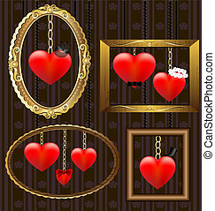 hearts portrait frames - on the wall is a frame with hearts,...