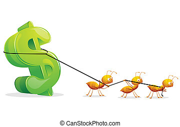 Ants dragging Dollar - illustration of group of ants...