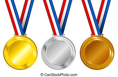 Medals - Set of Golden, Silver and Bronze Medals with...