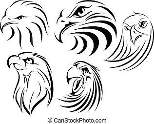 Eagle set1 - illustration of eagle faces