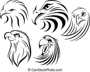 Eagle set1 - illustration of eagle faces