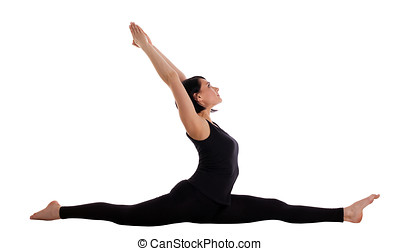 woman sit in yoga asana split - hands on top - young woman...