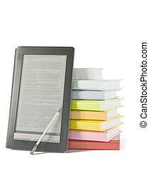 Stack of colorful books and electronic book reader on the...