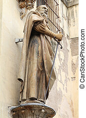 Saint Paul the Apostle statue in Sevilla, Andalusia, Spain....