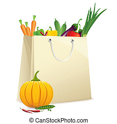 Bag full of Vegetables - illustration of shopping bag full...