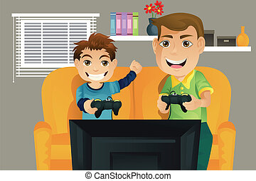 Father and son - A vector illustration of a father and his...