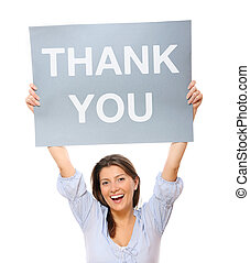 Thank you - A portrait of a young happy woman holding a...