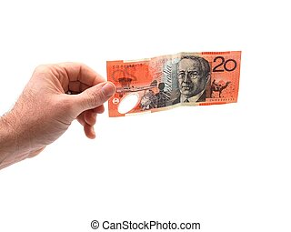 Holding Cas - A hand holding cash isolated against a white...