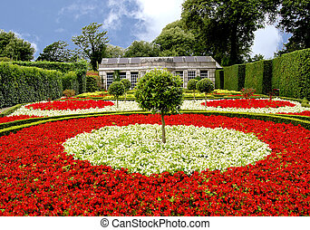 Begonia Garden - A Formal Garden of Red and Yellow Begonias...