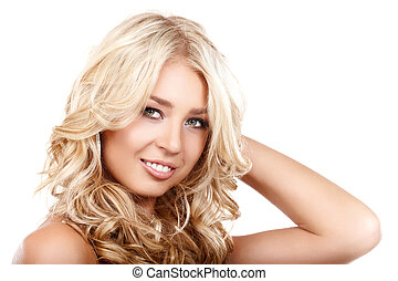 Curly hair - Portrait of a smiling blond lady with a...