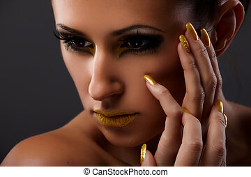 Yellow lips - Young lady portrait with fantasy makeup on...