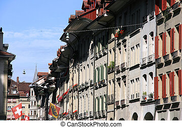 Berne, Switzerland - old town street of Swiss capital city.