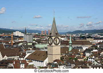 Zurich, Switzerland - Zurich cityscape. St. Paul's Church....
