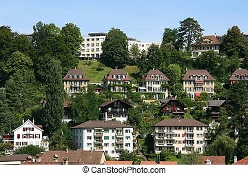 Berne - Cityscape of villas in Berne, Switzerland. Beautiful...