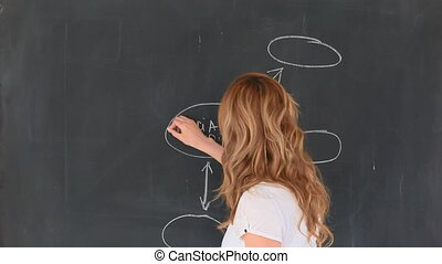 Cute blond-haired teacher drawing a scheme on a chalkboard