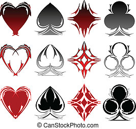 Card symbol tattoos - Set of card symbols in three different...