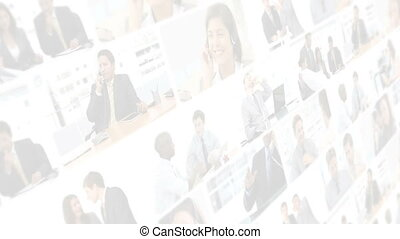 Montage of business people working - Montage of business...