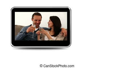 Montage of happy couples on a mobile screen