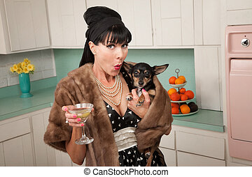 Woman Holds a Chihuahua - Retro-styled woman holds a...