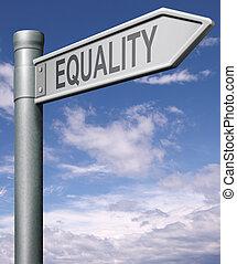 igualdad, camino, señal