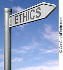 ethics road sign arrow indicating way to choice between good...