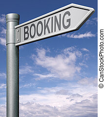 online booking - booking road sign arrow pointing towards...