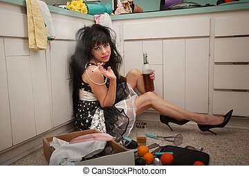 Depressed Woman - Carefree woman on kitchen floor smokes and...