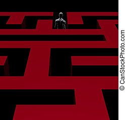 man exiting maze 3d illustration
