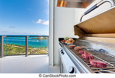 Barbecue in luxury terrace - View of a barbecue in an luxury...