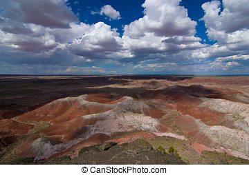 Wide-angle view of Painted Desert National Park - Dramatic...