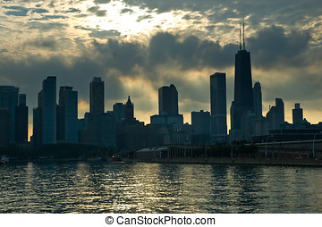 Chicago skyline in the evening seen from Navy Pier